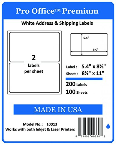 Pro Office Premium 200 Round Corner Blank Half Page Self Adhesive Shipping Labels for Laser Printers & Ink Jet Printers Made In USA White 5 3/8