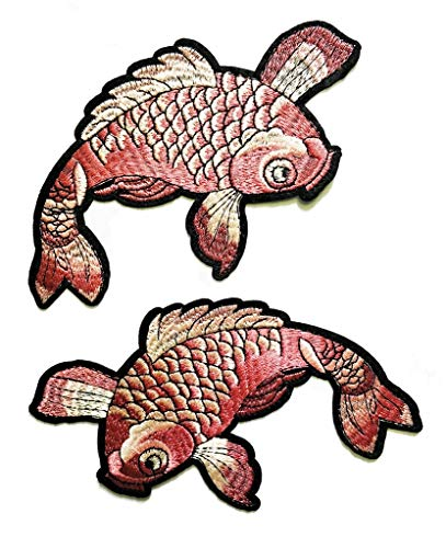 - PP Patch Big Cute Fish Japanese koi carp Cartoon Patch Motorcycle Biker MC RC Patch Sew Iron on Embroidered Appliqued Badge Sign Biker Patch