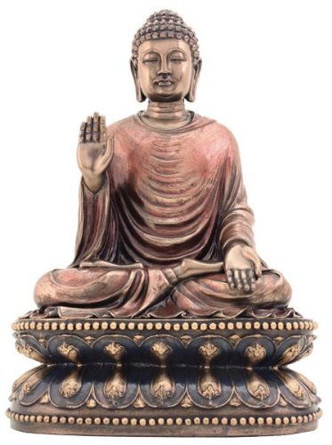 9 Inch Cold Cast Bronze Finish Regal Shakyamuni Buddha Statue