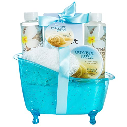 Basket Blue Gift (Beach Bath Gift Basket Refreshing Oceanside Breeze Perfume Spa Bath and body Tub Contains: Shower Gel, Bubble Bath, Body Lotion, Bath Salt, Puff Enriched with Shea Butter & Vitamin E.)
