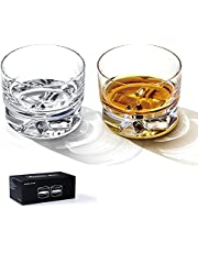 """Hirdborte Whiskey Glass Cocktail Glasses Shot Glasses Set for 2, 50th Birthday Gifts for Men Stackable Wine Glass With """"Time Mark"""" Printed, Cool Personalized Halloween Christmas Shot Glasses (4.7oz)"""