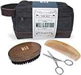 Beard Grooming Kit with Bag - Brush, Comb, Scissors for Beard Care & Canvas Toiletry Dopp Kit, Wash Bag with Genuine Leather trim – The Kit for Bearded Men by Mill & Oxford