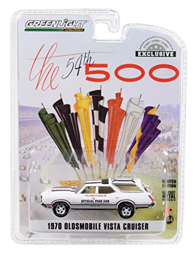 1970 Oldsmobile Vista Cruiser White 54th Annual Indianapolis 500 Mile Race Oldsmobile Official Pace Car 1/64 Diecast Model Car by Greenlight 30049