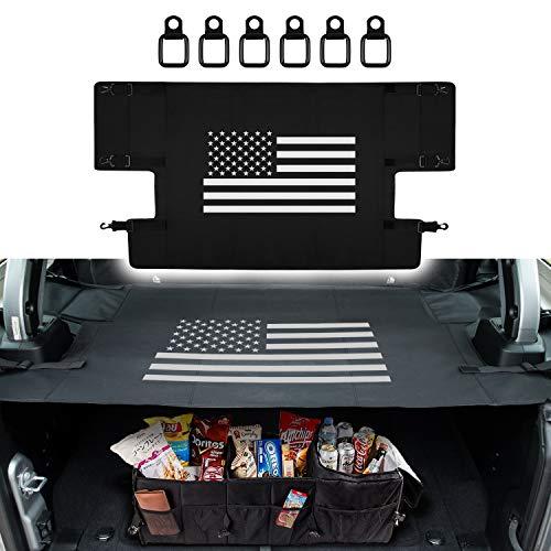 Sunluway for Jeep Wrangler JL JLU 2018 2019 4- Door Rear Cargo Rack Cover Shield Trunk Protector Shade Shield Pad Organizer Oxford Cloth US Flag Style