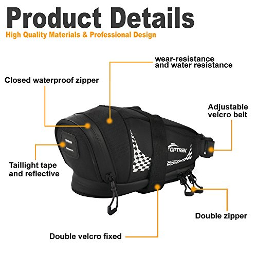 TOPTREK Bike Saddle Bag Outdoor Water Resistant Bike Bags under Seat with Expandable Capacity and Waterproof Zipper Bicycle Seat Bag for Foldable/Road/Mountain Bike by TOPTREK (Image #4)