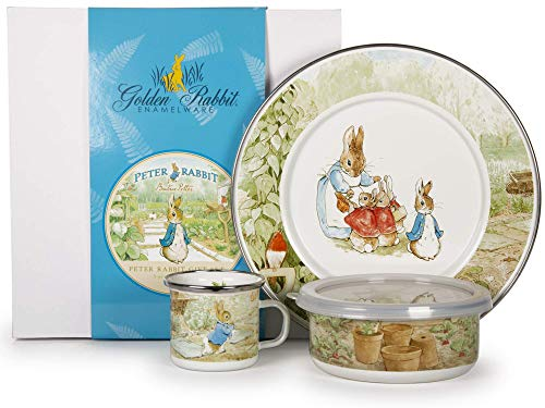 - Enamelware - Peter Rabbit Pattern - Kids 3 Piece Giftboxed with 4 Ounce Mug, 14 Ounce Bowl and 8½ Inch Plate