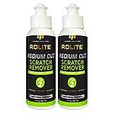 Rolite Medium Cut Scratch Remover (4 fl. oz.) for Plastic & Acrylic Surfaces Including Marine Strataglass & Eisenglass, Headlights, Aquariums 2 Pack