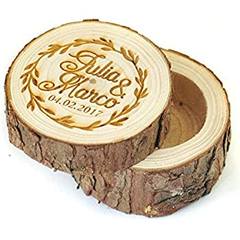 Amazoncom Personalized Wooden Wedding Ring BoxRustic Wedding