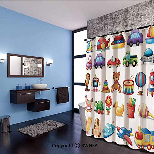 AngelSept Home Decor Shower Curtain Cartoon Toys Print Drum Rocking Horse Plane Robot Carsken Teddy Bear Art Pattern Polyester Fabric Bathroom Set with Hooks,71x79inch,