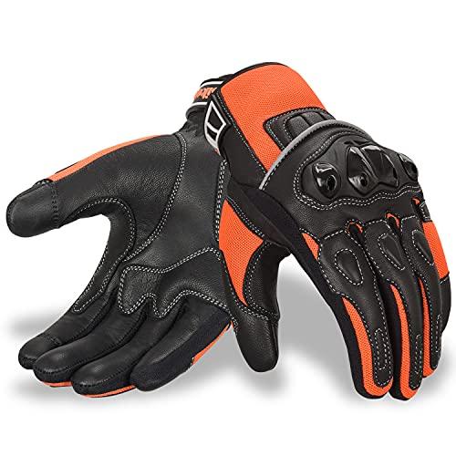 Oro Biker Motorrad handschuhe Herren, Knöchel schutz Touchscreen atmungsaktiv handschuhe Fahrrad Rennen ATV Reiten…