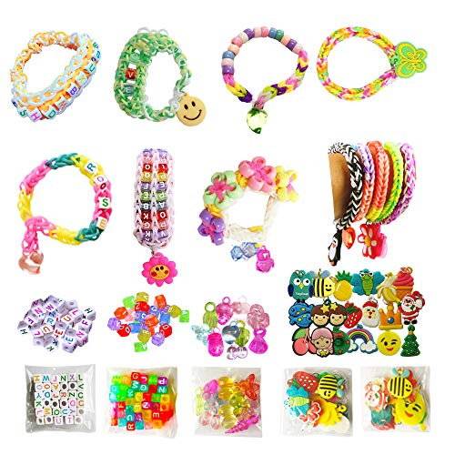 Rubber Loom Bands Refill Bracelet Making Kit, 10 Pack Clips, 4 Pack Colorful Beads, 3 Pack Charms, 2 Packs Letter Beads, 2 Hooks, 2 Keychains, 10000pcs 28 Colors, Organizer by NEFUTRY
