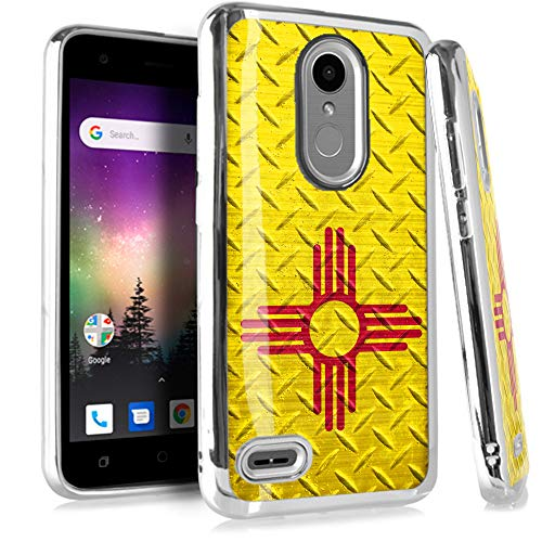 (Compatible LG Aristo 2 X210 | Tribute Dynasty | K8 (2018) | Fortune 2 | Zone 4 | Risio 3 Case Electroplated Chrome TPU Brushed Textured Hybrid Phone Cover (New Mexico Flag Crosshatch))