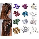 100 Pieces Aluminum Hair Cuffs Hair braiding Beads Hair Braid Rings and 64 Pieces Hand, Leaves, Star, Cross, Gold Ring Set Hair Clip Headband Hair accessories (Multi-colored)