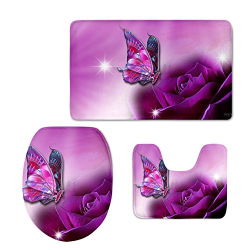 CHAQLIN Modern 3 Piece Bath Rug Set Pink Butterfly Pattern Bathroom Rugs Contour Mat Lid Toilet Cover