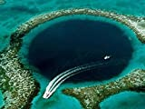 Great Blue Hole, Belize -Oil Painting On Canvas Modern Wall Art Pictures For Home Decoration Wooden Framed (20x16 Inch, Framed)