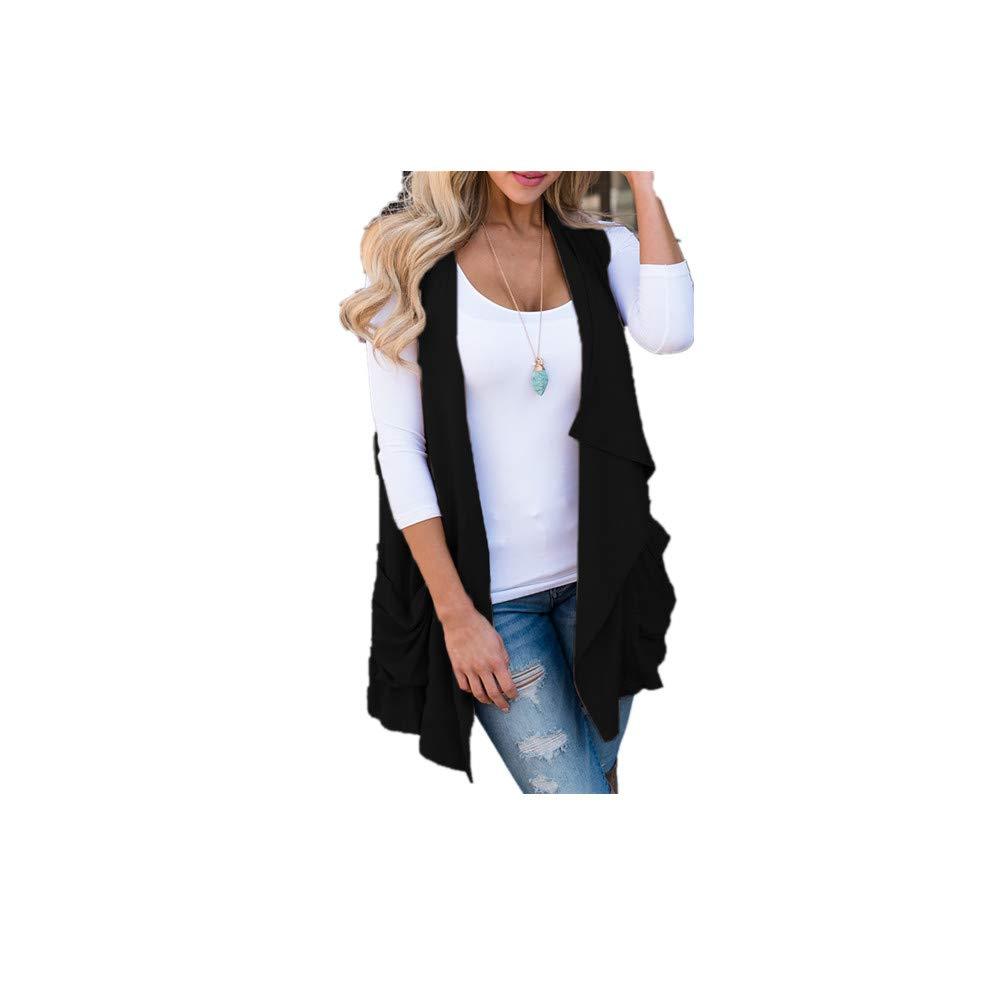 VICGREY ❤ Donna Senza Maniche Gilet Lungo Cappotto Cardigan Donna Manica Lunga Giacca Giacche Cardigan Sottile Cappotto Elegante Giubbotto Giacca