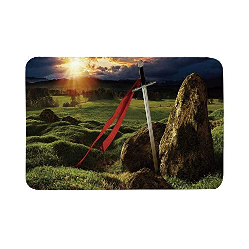 C COABALLA King Durable Door Mat,Arthur Camelot Legend Myth in England Ireland Fields Invincible Sword Image for Living Room,15.7