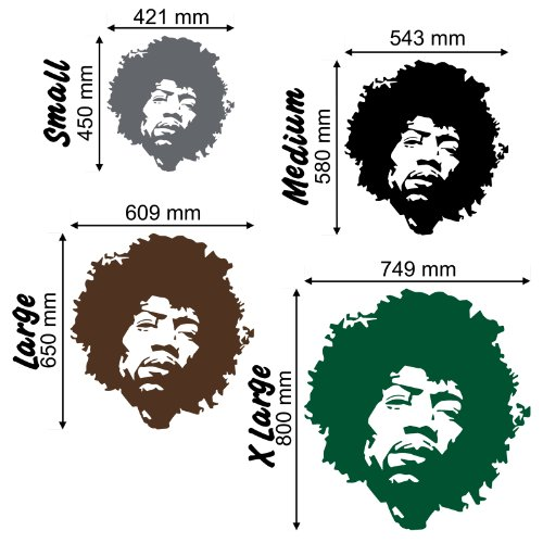 Jimi Hendrix Face - Wall Decal Art Sticker Lounge Living Room Bedroom (Color: Metallic Silver Size: Large)