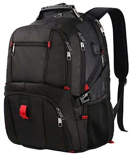 Extra Large Backpack,TSA Friendly Durable Travel Computer Backpack with USB Charging Port/Headphones Hole for Men&Women,Water-Resistant Business College School Bag Fits Under 17 Inch Laptop&Notebook