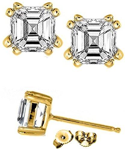 2 Carat Rare Asscher Cut Cubic Zirconia Stud Earrings Set in Sterling Silver in 14k Real Yellow Gold (Asscher Stud)