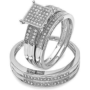 0.27 Carat (ctw) Sterling Silver Round White Diamond Men's & Women's Engagement Trio Bridal Set 1/4 CT