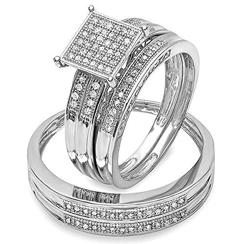 Dazzlingrock Collection 0.27 Carat (ctw) Round White Diamond Men's & Women's Engagement Trio Bridal Set 1/4 CT, Sterling Silver