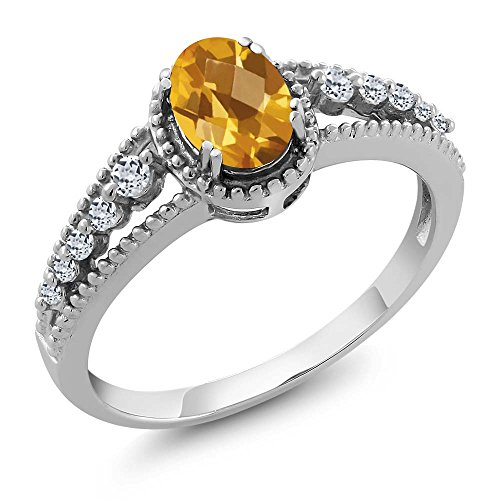 0.91 Ct Oval Checkerboard Yellow Citrine White Topaz 925 Sterling Silver Gemstone Birthstone Women's Ring (Ring Size 7) (Checkerboard Yellow)