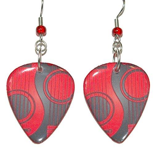 Black & Red Guitar Pick Dangle Earrings (GP025)