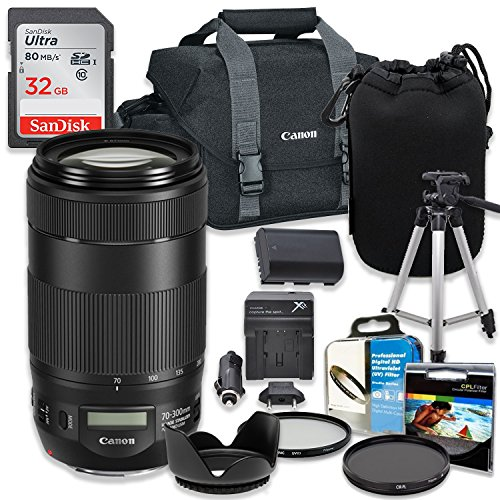Professional Accessory Kit with Canon EF 70-300mm f/4-5.6 IS II USM Lens & Canon 300-DG Shoulder Bag + SanDisk 32GB Class 10 Memory + Bundle Package for Canon EOS Cameras