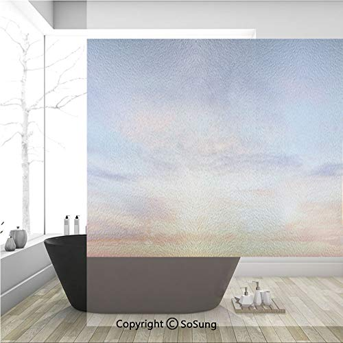- 3D Decorative Privacy Window Films,Colorful Vivid Illuminated Evening Sky During Sunset Cloudscape Scenic View Decorative,No-Glue Self Static Cling Glass Film for Home Bedroom Bathroom Kitchen Office