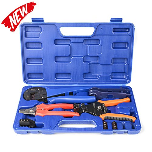 Assembly Cutter Kit (IWISS Solar Crimping Tool Kit with Wire Cable Cutter, Stripper, MC3 MC4 Crimper and MC4 Connectors Assembly and Disassembly Tool Solar PV Panel Tool Kit)