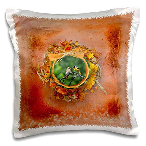3dRose Beverly Turner Autumn and Photography Design - Baltimore Oriole and Female Redbird, Autumn Round Frame, Bows, Leaves - 16x16 inch Pillow Case (pc_299602_1)