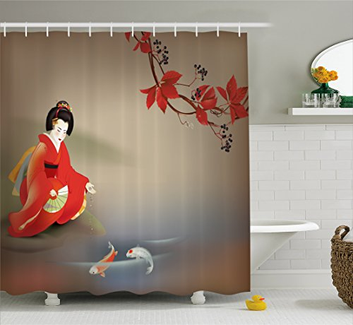 Koi Fish Shower Curtain by Lunarable, Geisha Feeding Sacred Beast Autumn Time Asian Culture Eastern Vibes Oriental, Fabric Bathroom Decor Set with Hooks, 70 Inches, Sepia Multicolor (Oriental Asian Fabric)