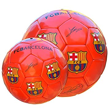 Balon FC Barcelona Naranja Fluorescente Mediano: Amazon.es ...