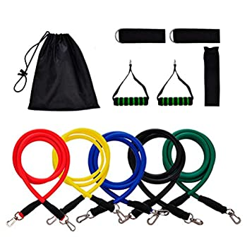 11 Pcs Resistance Bands Set, Workout Exercise Bands - with Door Anchor, Handles and Ankle Straps - Stackable Up to 100 lbs - for Resistance Training, Physical Therapy, Home Workouts, Yoga, Pilates