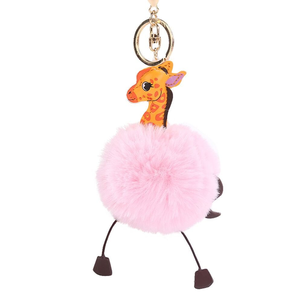 Gbell Puffy Pom Pom Ball Key Chains for Girls Backpack Schoolbag Pencil Case Purse Charm Pendant -Cute Giraffe Fluffy Pompom Keychain for Girls Toy Gifts,1Pcs 10 cm (Pink)