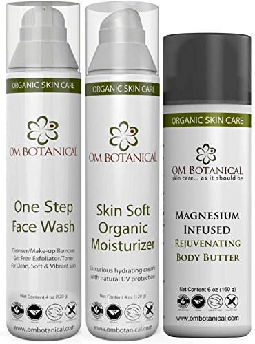Organic Skin Care Daily Kit - One Step Face Wash, Skin soft Moisturizer and Magnesium Infused Body Butter (Om Organic Cosmetics)