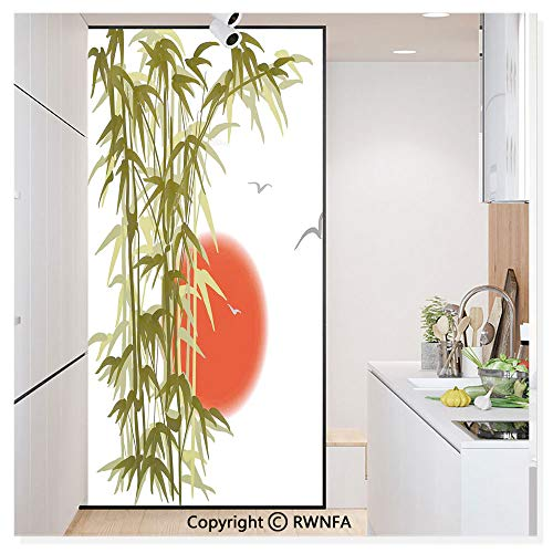 """RWN Film Decorative Window Films Kitchen Glass Sticker Abstract Bamboo on Sunset Background Design Bird and Sun Image Print Waterproof Anti-UV for Home and Office 11.8"""" x 59.8"""","""