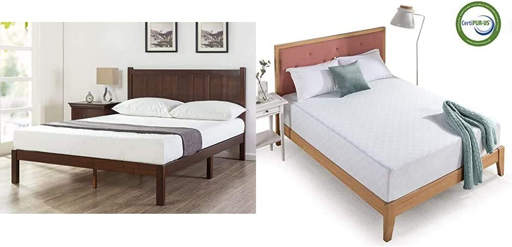 Zinus Adrian Wood Rustic Style Platform Bed with Headboard/No Box Spring Needed/Wood Slat Support, King & 12 Inch Gel-Infused Green Tea Memory Foam Mattress, King