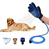 Witskey Pet Shower Sprayer and Pet Deshedding Glove 2 in 1 with 3 Faucet Adapters(Upgrade Version)