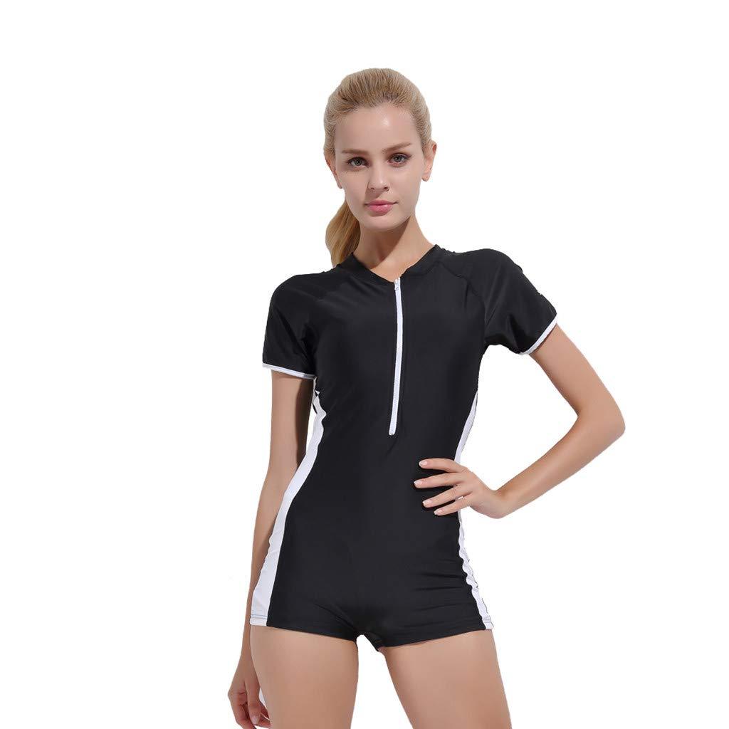 YEZIJIN Women Swimsuit Sexy One Piece Bodysuit Swimwear Professional Sport Bathing Suit Wetsuit top Long/Short Sleeve Black