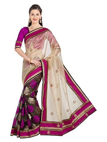 Viva N Diva Saree for Women's Embroidery Cream Brasso & NetSaree with Un-Stiched Blouse Piece,Free Size