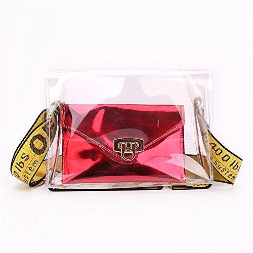 Un Rouge Transparent capacité bandoulière Sac Asdflina rétro bandoulière Convient bandoulière Simple Quotidien à pour Large épaule Usage magnétique Grande en PVC ZwU18
