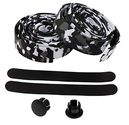 Handlebar Tape Set - 2-Roll Bicycle Bar Tape, with Bar Plugs, PU Bike Grip Tape, Handle Wrap, Cycling Accessories, for Road Bike, MTB Bike, Fishing Pole, Cart, Black Camouflage, 79.1 x 1.1 Inches