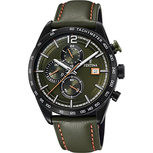 Men's Watch Festina - F20344/6 - Chronograph - Tachymeter - Date - Leather Strap - Green and Orange by Festina