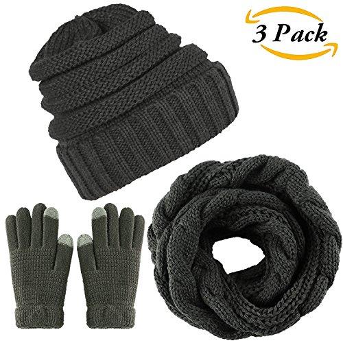 Aneco Winter Warm Knitted Scarf Beanie Hat and Gloves Set Men & Women's Soft Stretch Hat Scarf and Mitten Set (Dark grey)