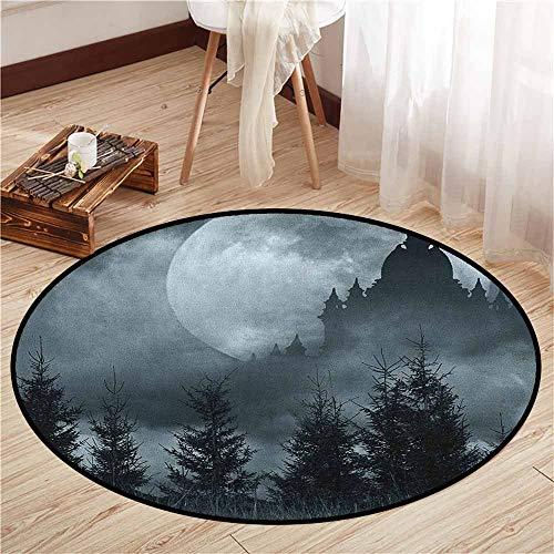 Bedroom Round Rugs,Halloween,Magic Castle Silhouette Over Full Moon Night Fantasy Landscape Scary Forest,Door Floor Mat for Bedroom,2'7