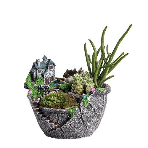 NCYP Fairy Garden Miniature Broken Sweet House Flower Pot Villa House on the Cliff Sky Castle Sculpture Planter Grey for Decoration No Plants