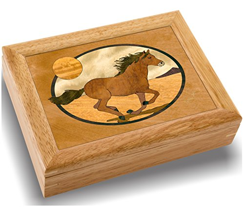 (MarqART Horse Wood Art Trinket Jewelry Box & Gift - Handmade USA - Unmatched Quality - Unique, No Two are The Same - Original Work of Wood Art (#2119 Mustang 6x8x2))