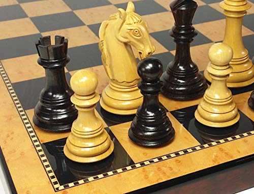 Birdseye Maple Wood Chess Board - DBL Queens - 4 1/2 inch King Rosewood Staunton Wood Colombian Knight Chess Set W/ 18